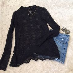 Black Lace Long Sleeve Black lace long sleeve with button up back with keyhole. Beautiful with a bralette underneath or tank. Dress up or down! Forever 21 Tops Tees - Long Sleeve