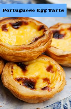 Portuguese Egg Tarts - Create some Portuguese mood in your home with these delicious egg tarts! Portugese Custard Tarts, Portuguese Custard Tart Recipe, Portuguese Egg Tart, Portuguese Desserts, Portuguese Recipes, Tart Recipes, Egg Recipes, Baking Recipes, Recipes With Milk