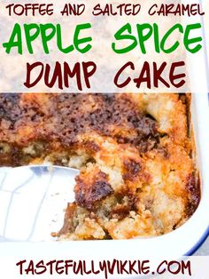 An amazing toffee apple spice dump cake from scratch, baked with a layer of fresh apples and raisins in sugar and spice. With a part chewy and crisp salted caramel cake topping like toffee popcorn. Caramel Apple Dump Cake, Salted Caramel Cake, Apple Dump Cakes, Caramel Apples, Spice Dump Cake Recipe, Dump Cake Recipes, Pear Recipes, Fresh Apples, Spiced Apples