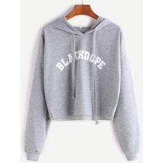 SheIn(sheinside) Grey Hooded Letter Print Raw Hem Crop Sweatshirt ($13) ❤ liked on Polyvore featuring tops, hoodies, sweatshirts, long-sleeve crop tops, hoodie sweatshirts, grey hoodie, cropped hoodie and cropped pullover hoodie