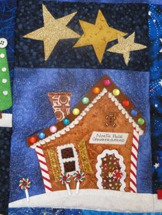 Welcome to the North Pole Quilt - Gingerbread House Christmas Blocks, Christmas Applique, Christmas Fabric, Christmas Sewing Projects, Christmas Crafts, Christmas Stuff, House Quilt Block, Quilt Blocks, Quilting Projects