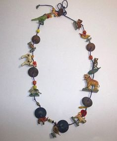Vintage Mexican Folk Art Paper Mache ANIMAL Necklace Hand Painted OWL TIGER BIRD #Unbranded
