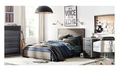 Decorating for your teen or tween bedroom can be challenging as their personalities and preferences become much more pronounced. Encourage them to participate in. Restoration Hardware Teen, Kids Bedroom Boys, Kid Bedrooms, Teen Boy Bedding, Boys Room Design, Rh Teen, Grey Room, Luxurious Bedrooms, Cool Rooms