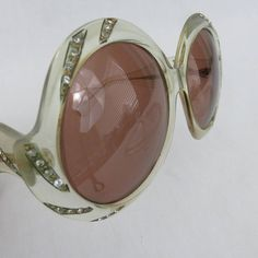 017a016313f Vintage Ultra Sudan Oversized Round Sunglasses with Rhinestone Crystal  Details - Authentic Designer Frames Made in England