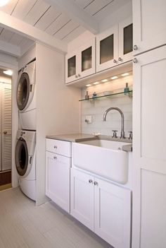 laundry room-stacked washer and dryer, counter, large farmhouse sink.what if we combine the vanity and the laundry in a creative way? Laundry Room Remodel, Laundry Room Organization, Laundry Room Design, Farmhouse Laundry Room, Laundry In Bathroom, Basement Laundry, Bathroom Cabinets, Farmhouse Small, Garage Laundry