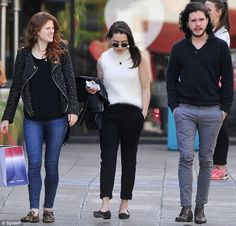 Firm friends: (L-R) Game Of Thrones stars Rose Leslie, Emilia Clarke and Kit Harington had lunch together in Los Angeles on Sunday