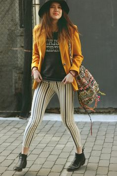 Stripped pants and yellow jacket, good combo!
