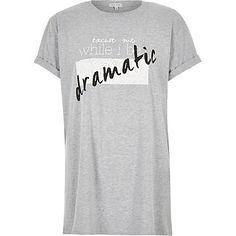 Grey textured slogan print oversized t-shirt £18.00