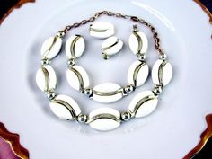Thermoset Jewelry Set Parure White Lucite by SunburyVintageStore