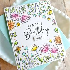 Create fun floral backgrounds in minutes with our pretty Doodle Flowers Background. Happy Birthday Cards Handmade, Creative Birthday Cards, Homemade Birthday Cards, Homemade Cards, Happy Birthday Drawings, Birthday Card Drawing, Happy Birthday Doodles, Flower Doodles, Doodle Flowers