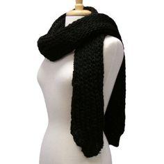 Black Long Classic Thick Chunky Knit Warm Winter Neck Scarf Luxury Divas. $23.99