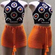 Crochet Shorts Pattern, Crochet Halter Tops, Crochet Skirts, Crochet Bikini Top, Crochet Clothes, Love Crochet, Crochet Lace, Do It Yourself Fashion, Crochet Fashion