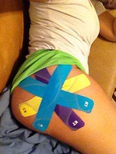 """KT Tape Pro hip application """"I've had hip pain for over two years! Decided to get taped and instantly there is no pain!"""" -Haylie Stutzman maybe I need to try this for my SI Joint? Bursitis Hip, Tendinitis, Hip Pain, Back Pain, Knee Pain, K Tape, Kt Tape Hip, Si Joint, Hip Problems"""