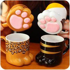 www.sanrense.com - Kawaii cat paw ceramic mugs