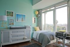 BM Ocean Spray, Ikea bed, curtains and ceiling track, vintage dresser, West Elm bedding | Design by Orlando + Emily Henderson