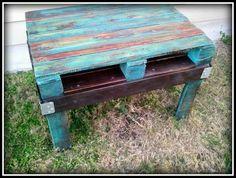 Austin: Peacock Blue Reclaimed Pallet Wood Coffee or Side Table $155 - http://furnishlyst.com/listings/133234