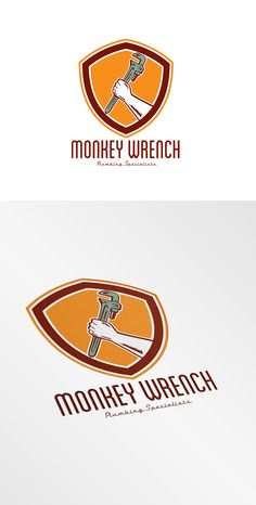 Monkey Wrench Plumbing Logo. Logo showing illustration of a hand holding an adjustable monkey wrench set inside shield crest on isolated background done in retro woodcut style. 100%