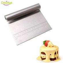 Delidge 1 pc Multifunction Pastry Cutter With Scale Stainless Steel Pizza Dough Scraper Flour Slicer Baking Cake Spatulas Tool(China)