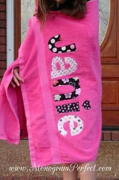 Personalized beach towel @ DIY Home Cuteness -- Even just a single monogram would be cute and make a nice gift