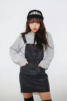 Coated Pinafore Denim Dress