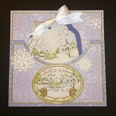 Snowscene Blue Christmas Wishes 7in Tag Card Front Mini Kit on Craftsuprint - View Now!