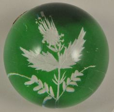 Caithness Glass Paperweight Green Engraved Thistle