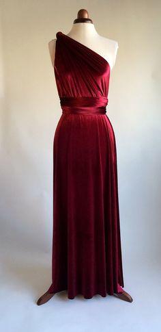 Infinity dress bridesmaid dress prom dress red velvet by Valdenize