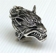 Werewolf Head Design Mens Ring. Heavy 925 Sterling Silver Ring.
