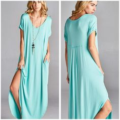 The Alexa Dress In Mint Size S Beautiful Mint Dress, this one is very comfy and pretty. Multi Use,  Material is rayon and spandex Boutique quality  Size S Price Firm unless bundled   Like my Facebook page Sweet-bb Boutique  Dresses