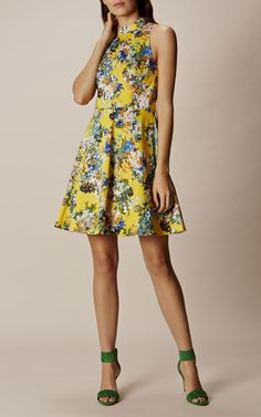 Karen Millen, FLORAL FIT-AND-FLARE DRESS Yellow/Multi