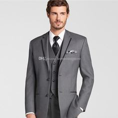 0a8604444e Gray Men Suits For Wedding Suits Bridegroom Groom Notched Lapel Custom Made  Slim Fit Formal Tuxedos Best Man Blazer Prom Jacket Pants Vest