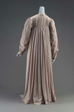 American, (supposedly?) second quarter of 19th century.  Silk crepe dress said to have been worn by a Quaker woman, Miss Lydia Goodridge who was born in 1825.  That doesn't seem to fit with the style which would've been way out of date even for the plainer Quaker dress by the time Lydia was old enough to wear this dress.  I have doubts about the provenance and date.   mfa-Boston