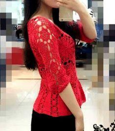 Blusa em Crochê Vermelha com Motivos * Gráficos no post - Katia Ribeiro Moda e Decoração Handmade