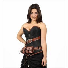 2527d4b9013 9015 Black Brocade Steampunk Corset
