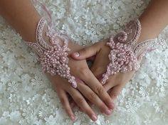 Wedding Bridal Glove,pink lace gloves, Fingerless Glove,
