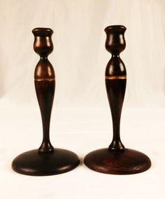 Pair Dark Wood Gold Lathe Turn Candlesticks Taper Candle Holders Vtg Primitive | eBay