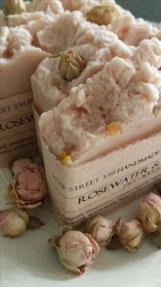 Handmade Soap. OHP with Rosewater, Rosehipoil.