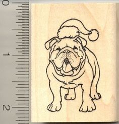 Christmas Bulldog Rubber Stamp  Wood Mounted by Rubberhedgehog, $10.00