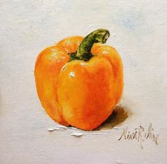 Yellow Orange Bell Pepper Oil Painting Nina R.Aide Origianl Still Life Kitchen Art Vegetable Painting 6x6 Small Canvas Fince Art