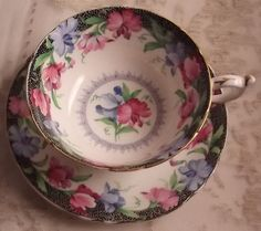 Paragon teacup and saucer - sweet peas - black and white with colour accents -  tea cup  - wedding - bridal tea - Valentine's gift -