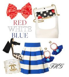 """""""I Love Crop Top #042569"""" by fashionhuntergirl on Polyvore featuring RED Valentino, Delpozo, Yeezy by Kanye West, Charlotte Olympia, Chanel, redwhiteandblue, bratop and marinefresh"""