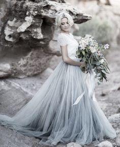 Sky Blue Lace Bride Dress Short Sleeves A-line Romantic Wedding Dress vestidos de novia 2019 Cheap High Quality Wedding Gown Wedding Dresses 2018, Colored Wedding Dresses, Tulle Wedding, Cheap Wedding Dress, Boho Wedding Dress, Bridal Dresses, Prom Gowns, Wedding Blue, Bridesmaid Dresses