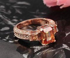 Rectangle Zircon Rose Gold Women Ring