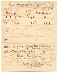 Gershwin's registration card for the World War I Draft.