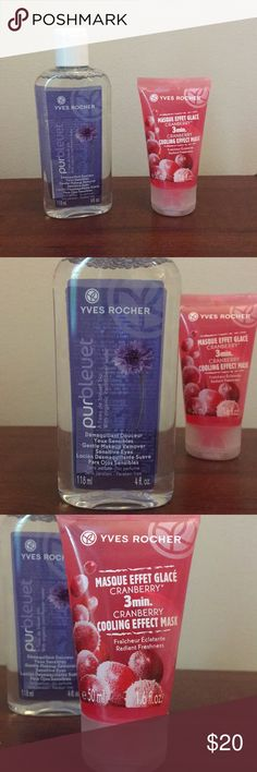 Yves Rocher duo Yves Rocher gentle makeup cleanser and Yves Rocher cooling effect mask. Both are gentle and soothing for dry winter skin! Never used, brand new. Will sell together or separate, make me an offer! Yves Rocher Makeup