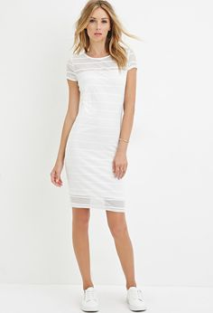 Contemporary Shadow Stripe Cap-Sleeve Dress   Black, White $24.90