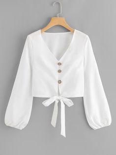 Women Boho Plain Shirt Regular Fit V Neck Long Sleeve Bishop Sleeve Placket White Single Breasted Knot Hem Blouse Girls Fashion Clothes, Teen Fashion Outfits, Hijab Fashion, Trendy Outfits, Girl Fashion, Girl Outfits, Fashion Dresses, Style Clothes, Boho Fashion