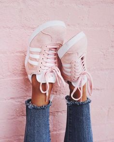 new styles 05036 b70fe A classic indoor soccer shoe gets a modern rendition in the adidas Pink  Gazelle Sneakers. These women s sneakers are defined by a pigskin leather  upper that ...