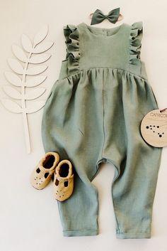 5f570b99557a Handmade Sage Green Linen Baby Toddler Ruffle Romper