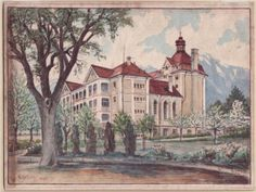 The Old Building in Stand of Trees - a painting by Adolf Hitler, who was residing in Vienna in 1913, aged 24.